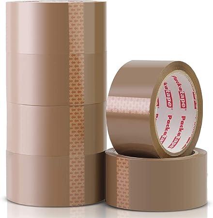 Packatape 6 Rollos Cinta Embalar Adhesiva 48MMx 66M para Cajas y Paquetes Ideal para Envíos y Mudanzas - Precinto Embalar Extrafuerte y Resistente – Color Marrón: Amazon.es: Bricolaje y herramientas