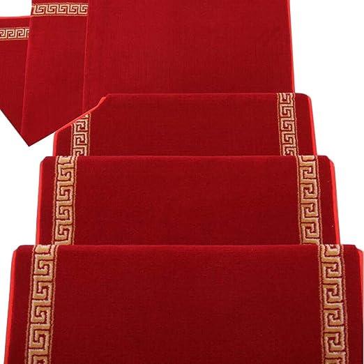 JIAJUAN Alfombra De Escalera Rectángulo Peldaños Rojo Autoadhesivo Antideslizante Caucho Soporte Piso Protector Almohadilla, 2 Tallas, Personalizable (Color : A -1 pcs, Tamaño : 100x24x3cm): Amazon.es: Hogar