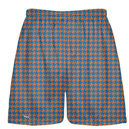 927ccfeba7e LightningWear Orange Blue Houndstooth Shorts - Sublimated Short - Lacrosse  Shorts - Youth Lacrosse Shorts - XL