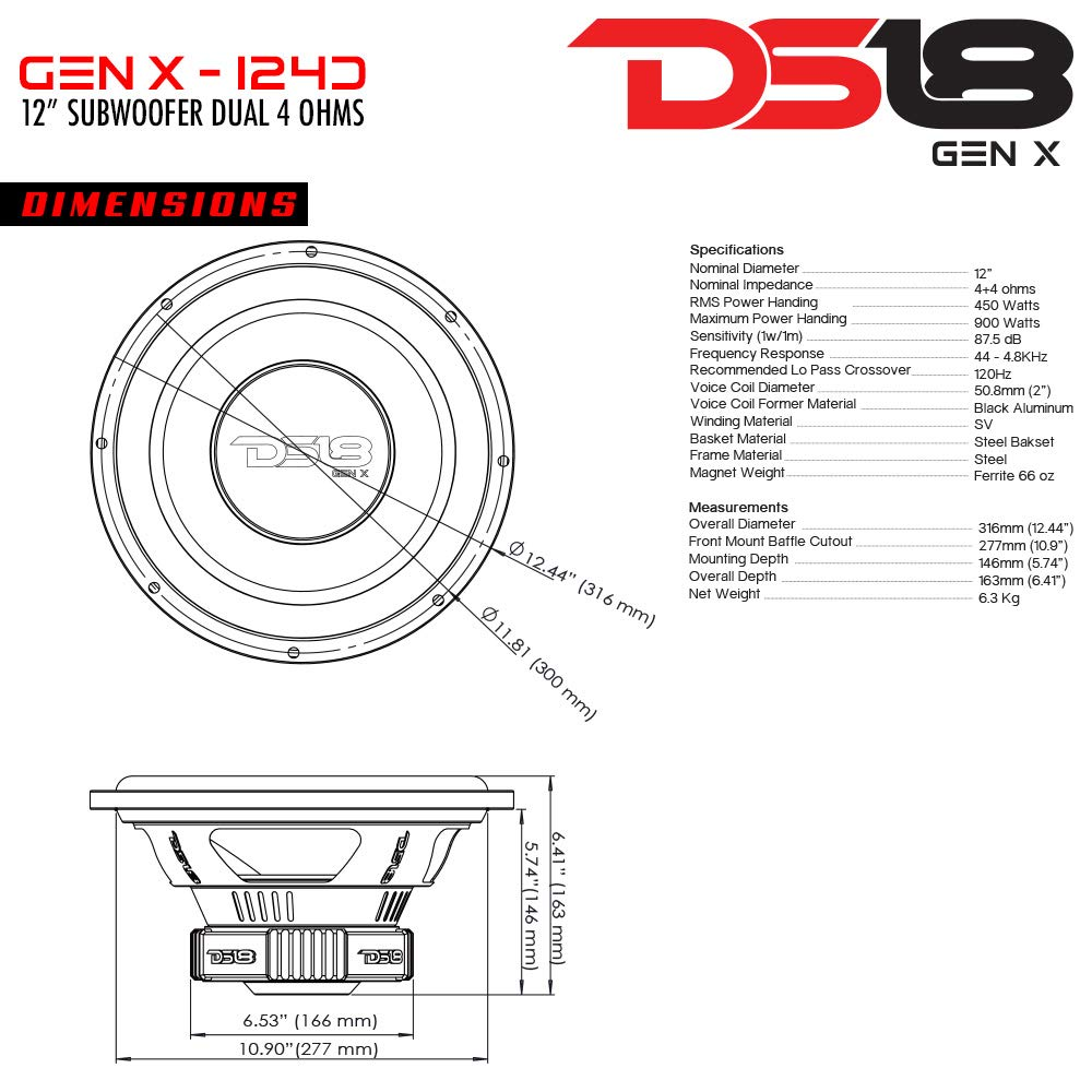 Ds18 Gen X124d Car Subwoofer Audio Speaker 12 In Wiring Diagram As Well 2 Ohm Further Dual Paper Glass Fiber Cone Red Steel Basket Voice Coil 4 Impedance 900w Max Power