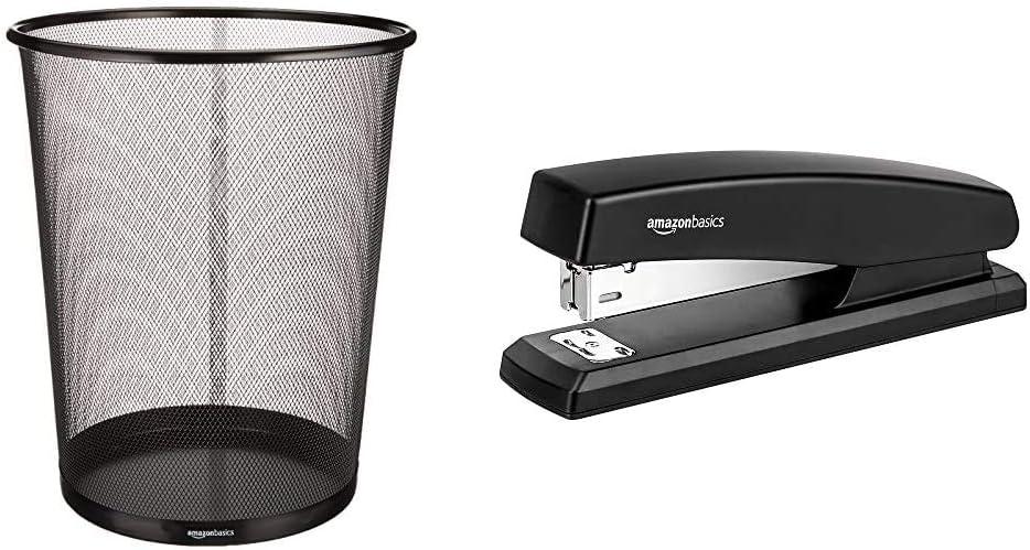 AmazonBasics Mesh Trash Can Waste Basket & 10-Sheet Capacity, Non-Slip, Office Stapler with 1000 Staples, Black