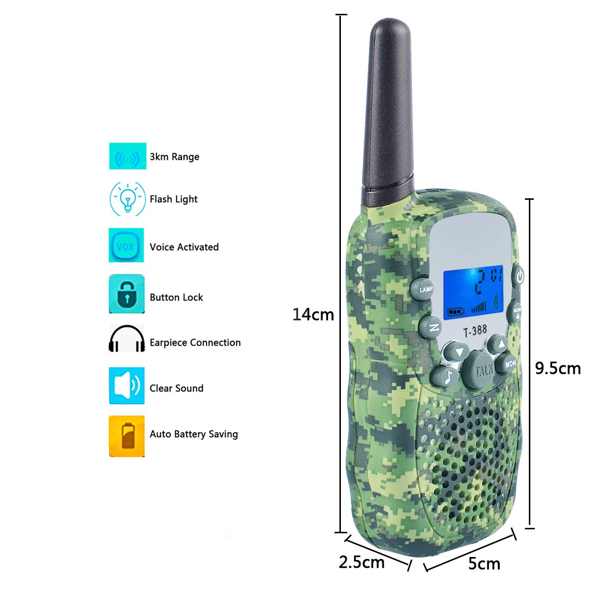 Coolzon Walkie Talkie Kids with 3km Long Distance Range 3 Pcs Walky Talky Two Way Radio With Backlit LCD Flashlight for Camping Hiking Biking