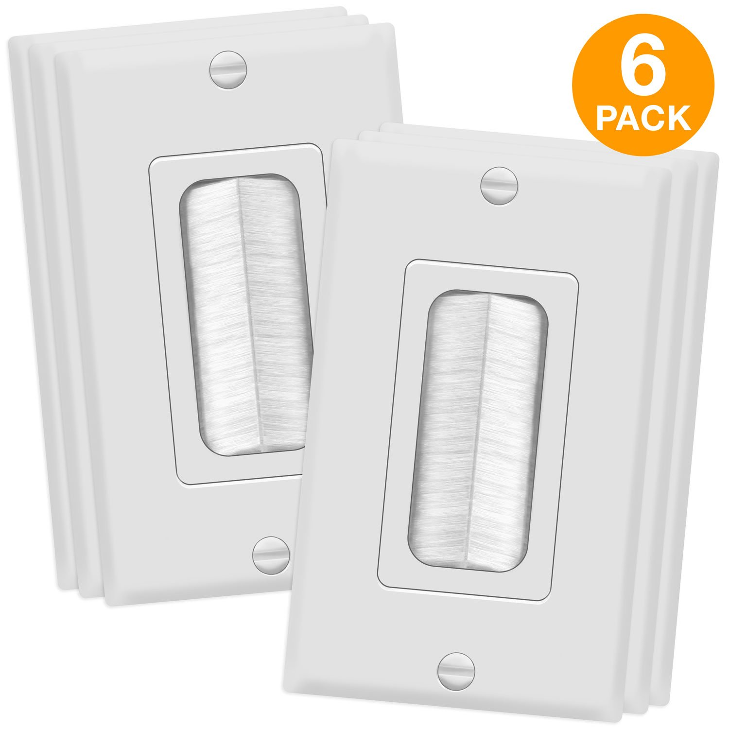 TOPGREENER Bristled Brush Wall Plate Multimedia Pass-Through Insert with Decorator Wall Plate for Low Voltage Cables, Size 1-Gang 4.50'' x 2.75'', Polycarbonate Thermoplastic, TG8891-6PCS, White 6 Pack by TOPGREENER
