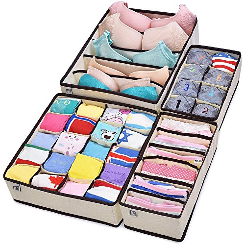 MIU COLOR Drawer Organizer, Closet Organizer Bra Underwear Drawer Divider 4 Set - Store Miu Miu