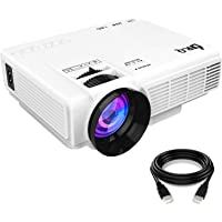 DR.Q Projector, Mini Projector, Video Projector with 170 Inch 1080P Support, Upgraded Lamp Life, Compatible with Fire TV Stick Game Console Chromecast PC Smartphone Tablet USB TF, Home Theater, White