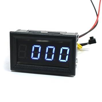 YB27 DC4.5-30V 4 dígitos Display azul LED Digital del reloj del coche del voltímetro: Amazon.es: Bricolaje y herramientas