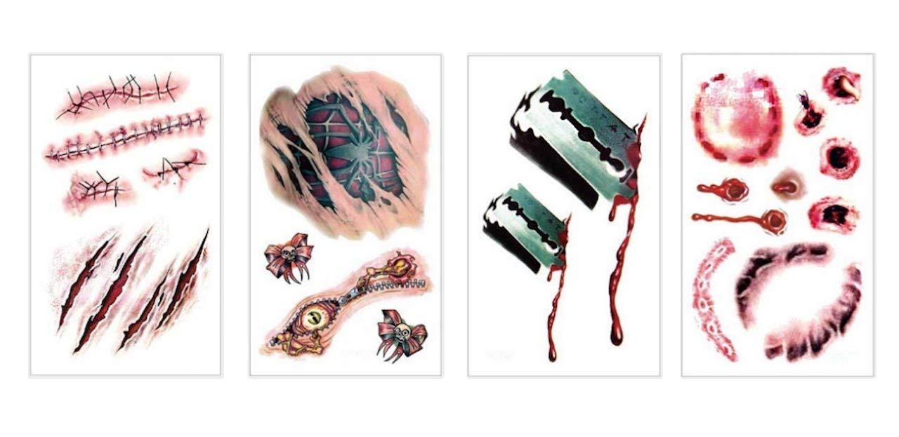 4 tatuajes temporales para disfraz de Halloween falsos ciclistas ...