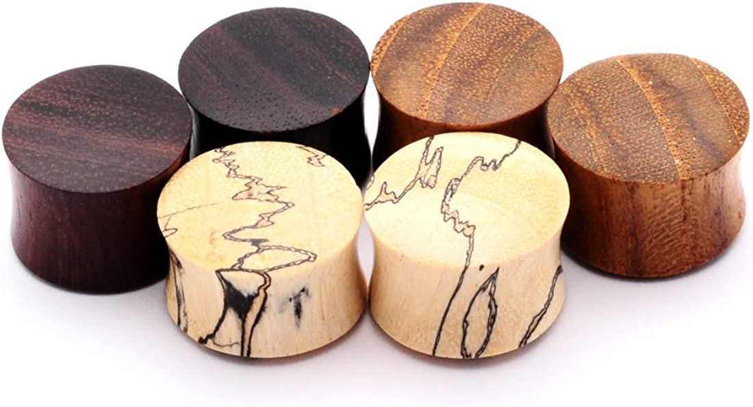 Mystic Metals Body Jewelry Set of 3 Pairs Wood Plugs (Tamarind, Teak, Sono)