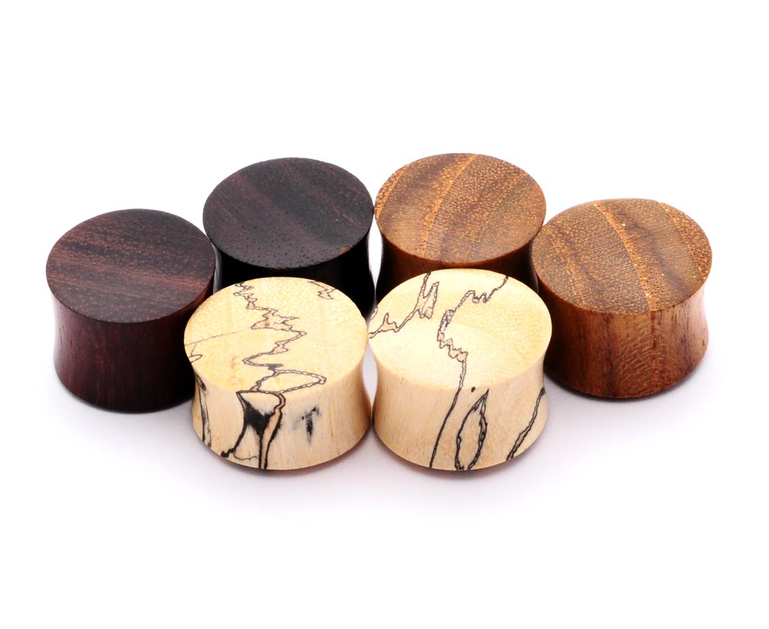 Mystic Metals Body Jewelry Set of 3 Pairs Wood Plugs (Tamarind, Teak, Sono) (00g (10mm)) by Mystic Metals Body Jewelry