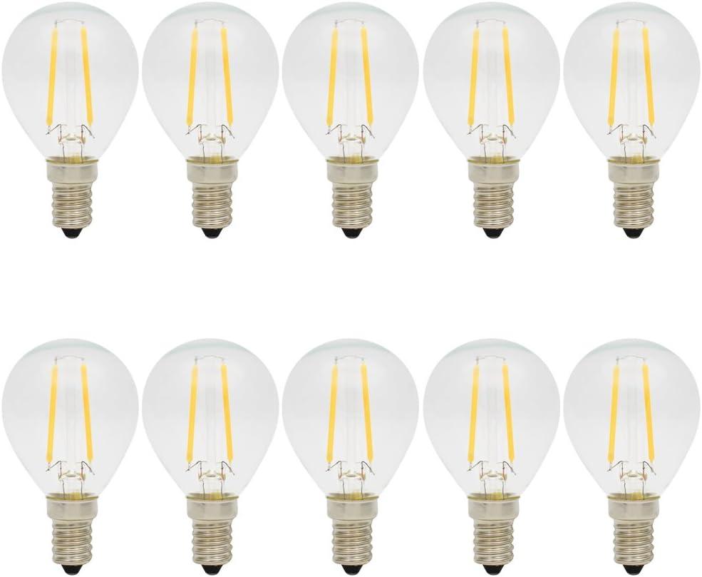 10X E14 Bombilla Edison Retro 2W Bombilla Filamento LED COB G45 Bombillas Antiguas Blanco Cálido 2700K LED de Edison AC 220V