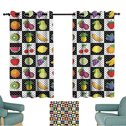 DILITECK Customized Curtains Black and White Decor Kitchen Fruits Vegetables Nature with Dots Chess Squares Art Design Noise Reducing Curtain W72 xL72 Multicolor