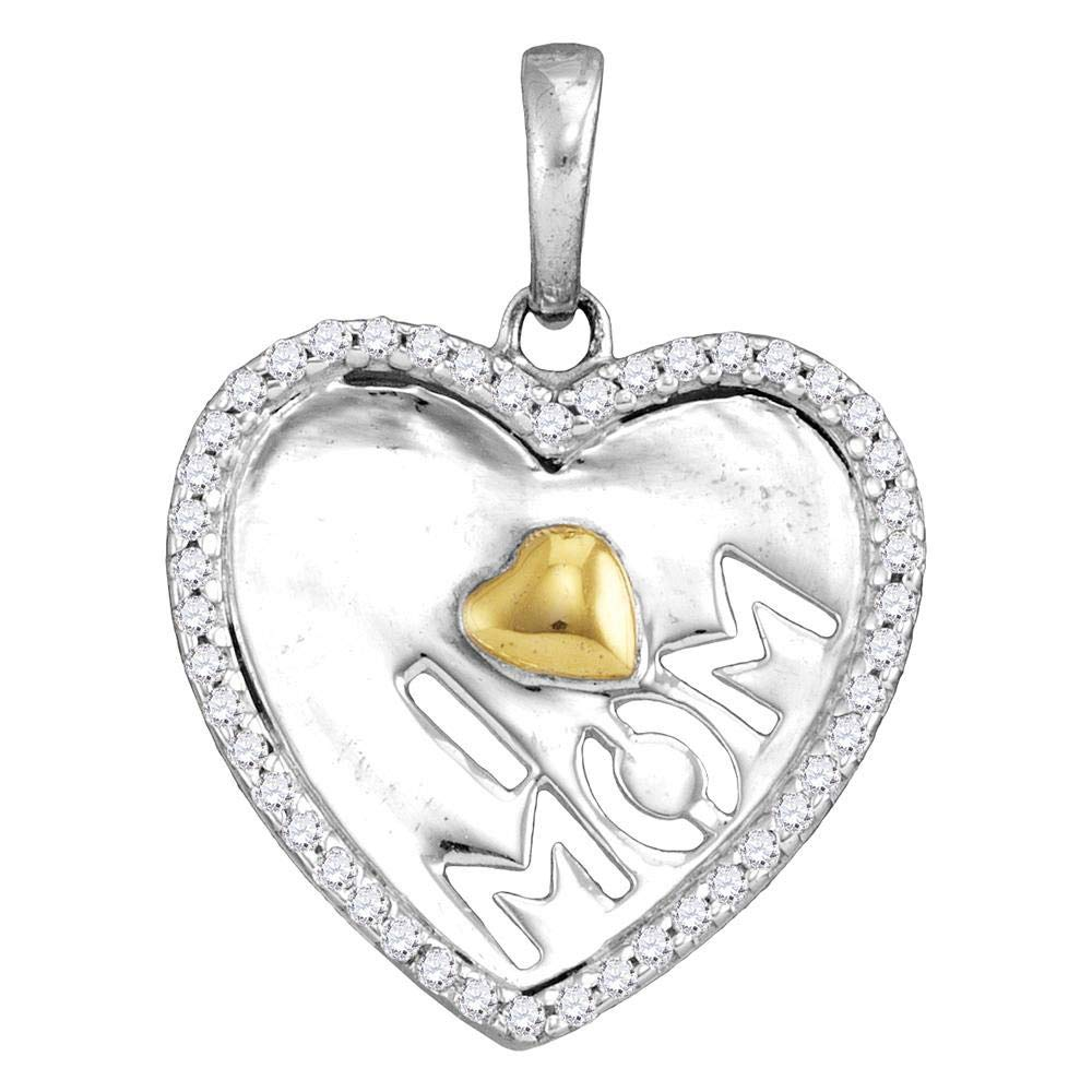 Sterling Silver Womens Round Diamond I Heart Mom Mother Pendant 1 8 Cttw