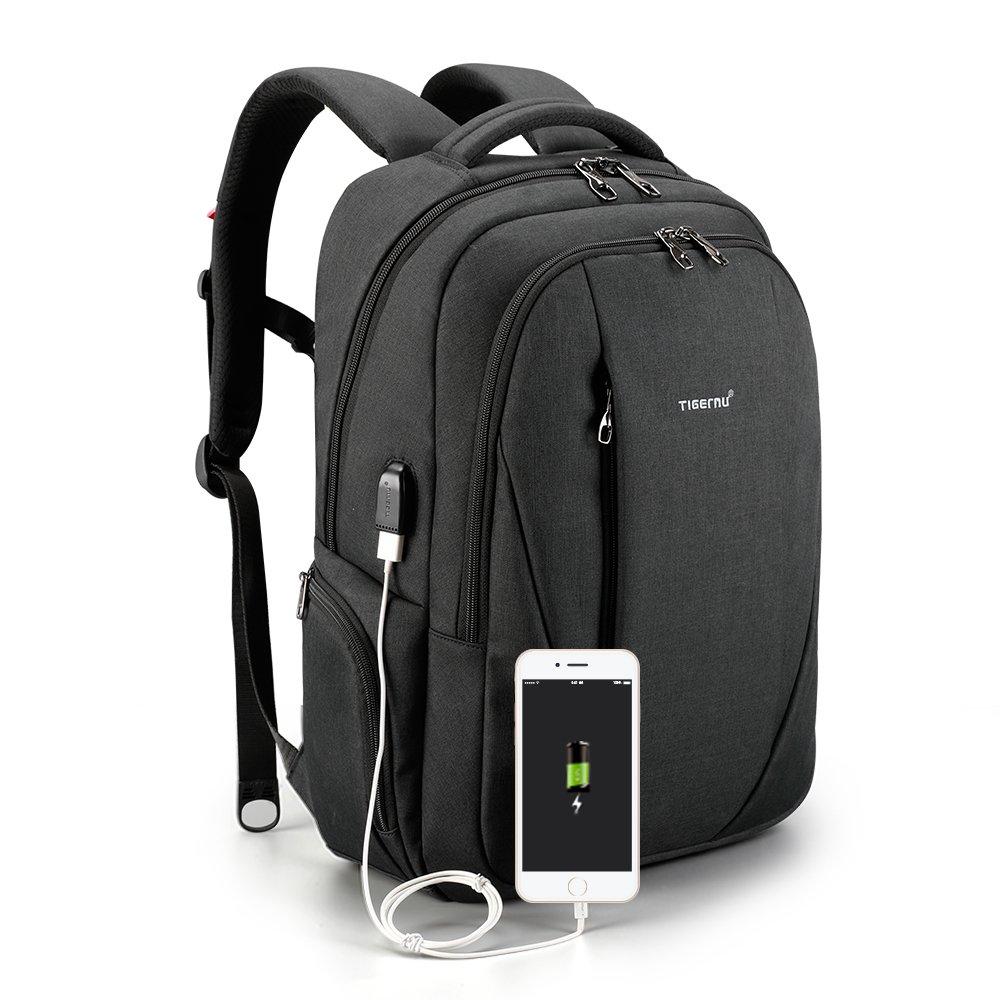 Tigernu Slim Business Laptop Backpack Anti Thief Water Resistant with USB Charging Port College School Backpaks Fit 15.6 Inch MacBook Computer - Black