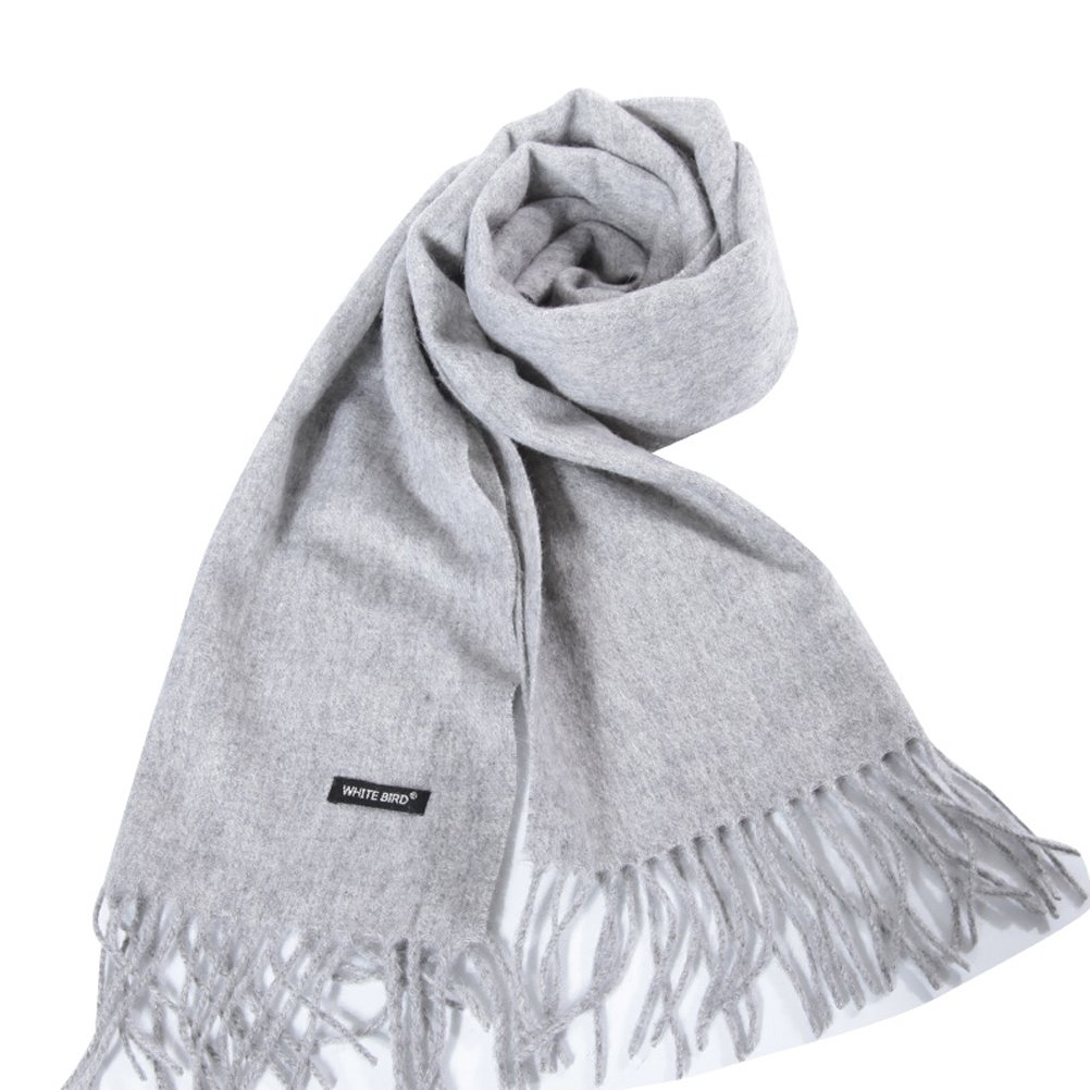 Men's Merino Wool Blend Solid Scarves Cashmere Feel Scarf with Fringe (Gray)