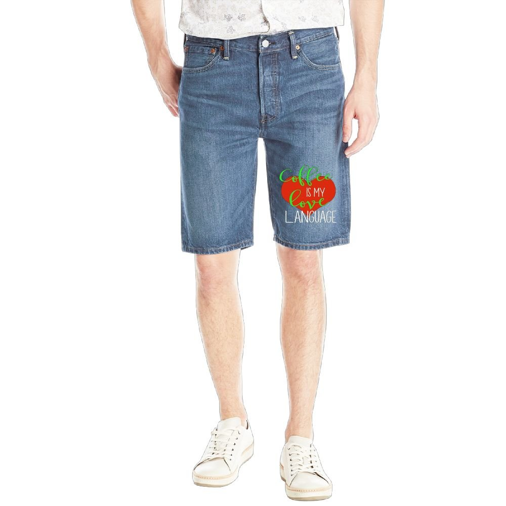 Gongzhiqing Coffee is My Love Language15 Mens Casual Short Denim Jean Pants Cool Casual Jeans Trousers RoyalBlue