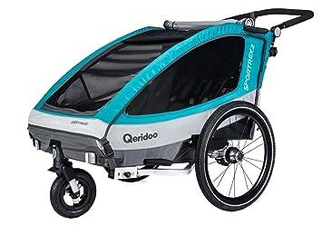 Remolque de bicicleta para 2 niños Sportrex2 (2018) de Qeridoo (con suspensión ajustable