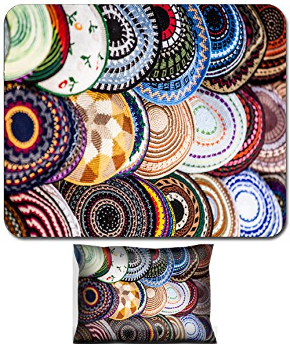 Luxlady Mouse Wrist Rest and Small Mousepad Set, 2pc Wrist Support design IMAGE: 24372062 Yarmulke traditional Jewish headwear Israel