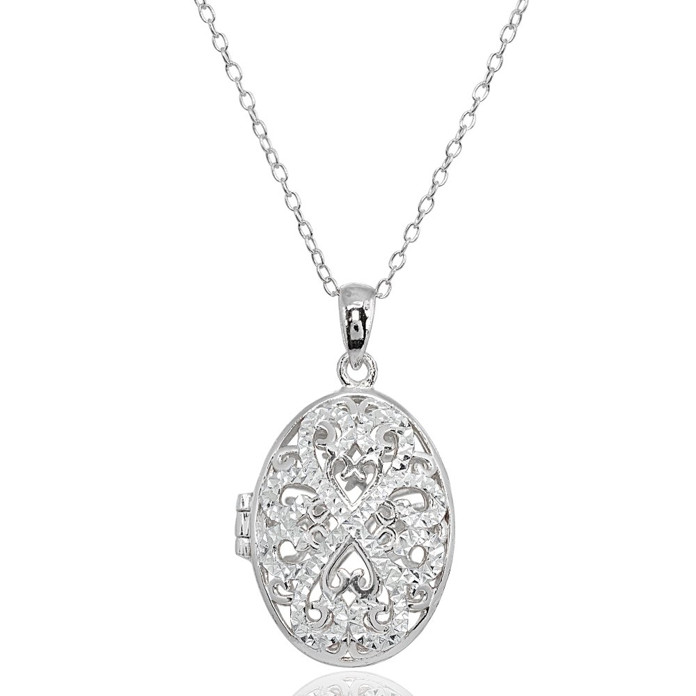 Sterling Silver Polished Diamond-Cut Oval Filigree Picture Locket Necklace