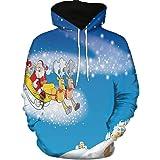 Jersey para Hombre,BBestseller Unisex Sudaderas con Capucha Impreso Suéter chándales Camisas Blusa Cuello Redondo de Mangas Largas Estilos Navidad