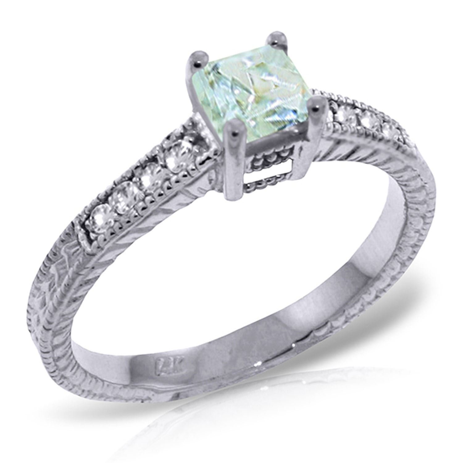 ALARRI 0.65 CTW 14K Solid White Gold Love For Granted Aquamarine Diamond Ring With Ring Size 9.5