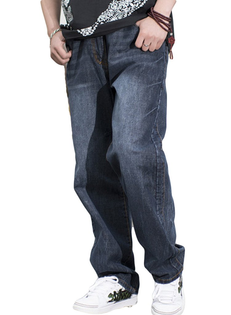 Sexyggs Men's High Waist Loose Demin Jeans Gray Trousers