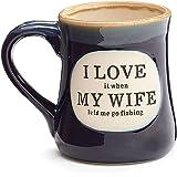 """I Love My Wife"" Porcelain 18 oz Fishing Coffee Mug Fun Gift for Our Fisherman"