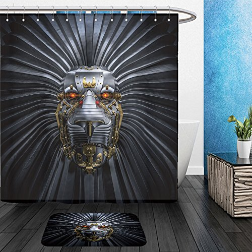 Cat Lion Costume Ebay - Vanfan Bathroom 2?Suits 1 Shower Curtains & ?1 Floor Mats Hear Me Roar 3D render of metallic robot lion_51168777 From Bath room