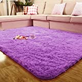 Sytian Large Size 4 Feet X 5 Feet 4.5cm Thick Decorative Modern Shaggy Area Rug Super Soft Silky Bedroom Living Room Sitting-room Carpet Non Slip Absorbent Bath Mat Kids Playing Mat (Light Purple)