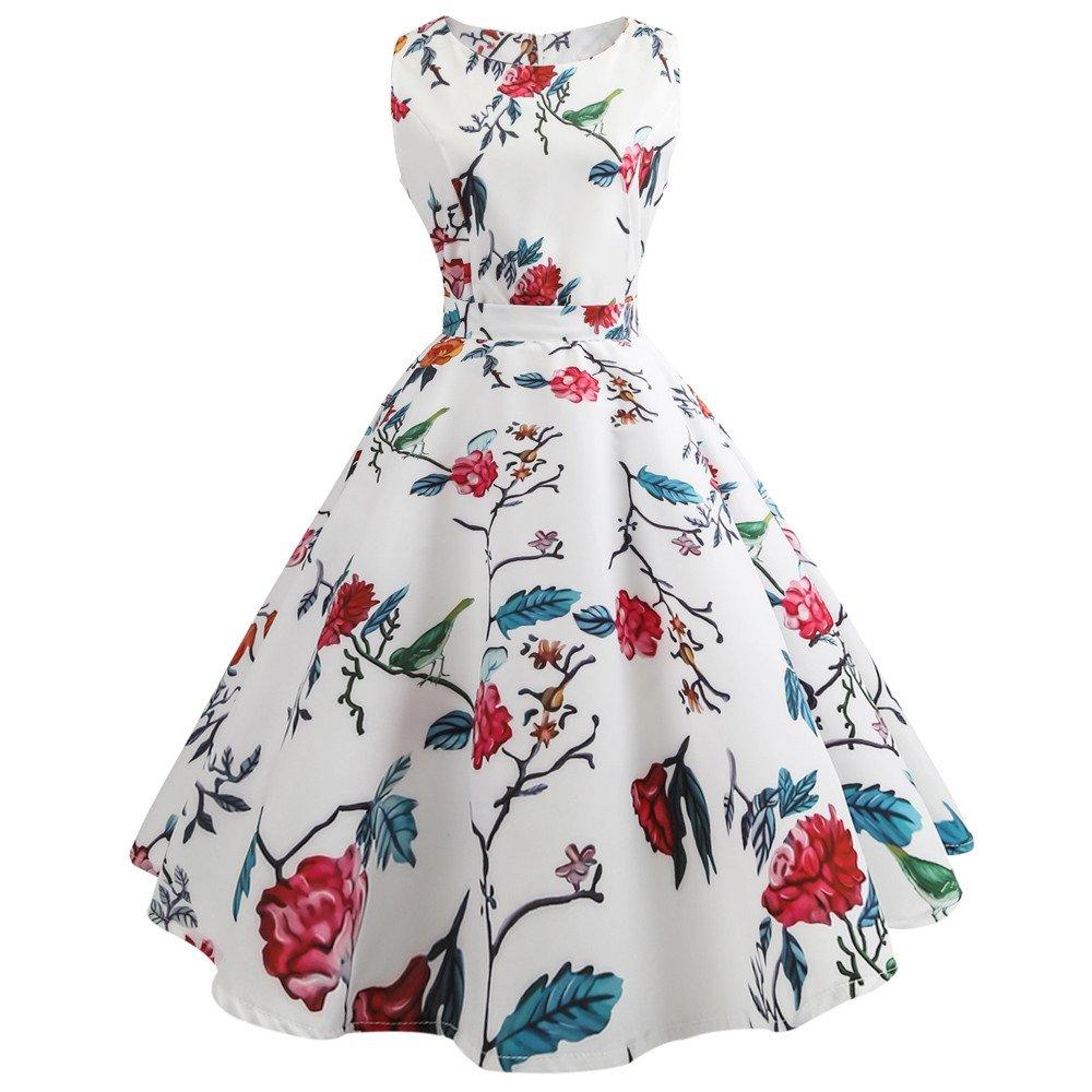 Clearance! 50S 60S Vintage Dresses for Women Print Casual Sleeveless Vintage Tea Hepburn Dresses for Summer Ladies