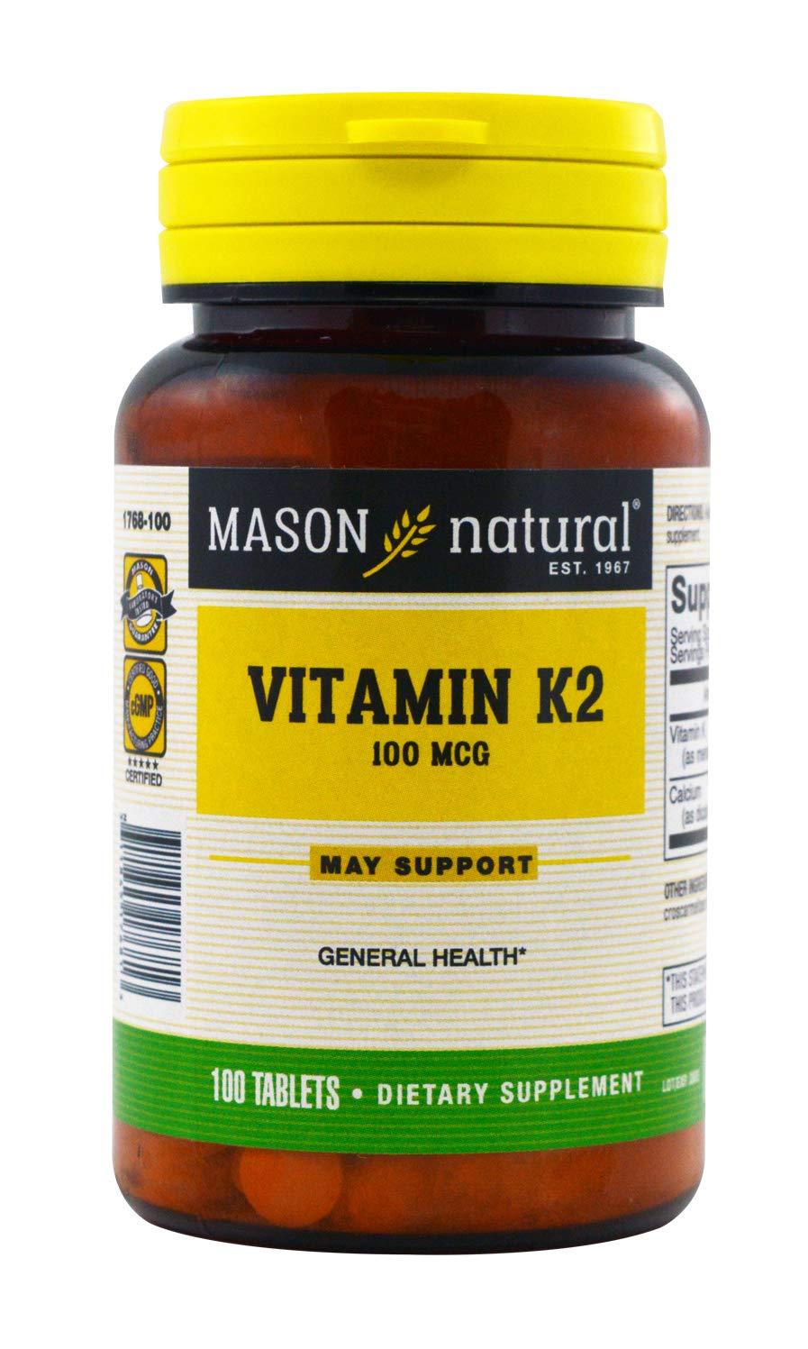 Mason Natural K2 100 mcg -100 Tablets, Pack of 5