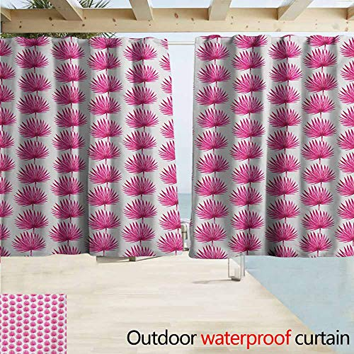 - AndyTours Outdoor Blackout Curtains,Leaf Watercolor Style Pink Tropical Leaves Exotic Hawaiian Jungle Island Foliage,Rod Pocket Energy Efficient Thermal Insulated,W63x45L Inches,Hot Pink Coconut