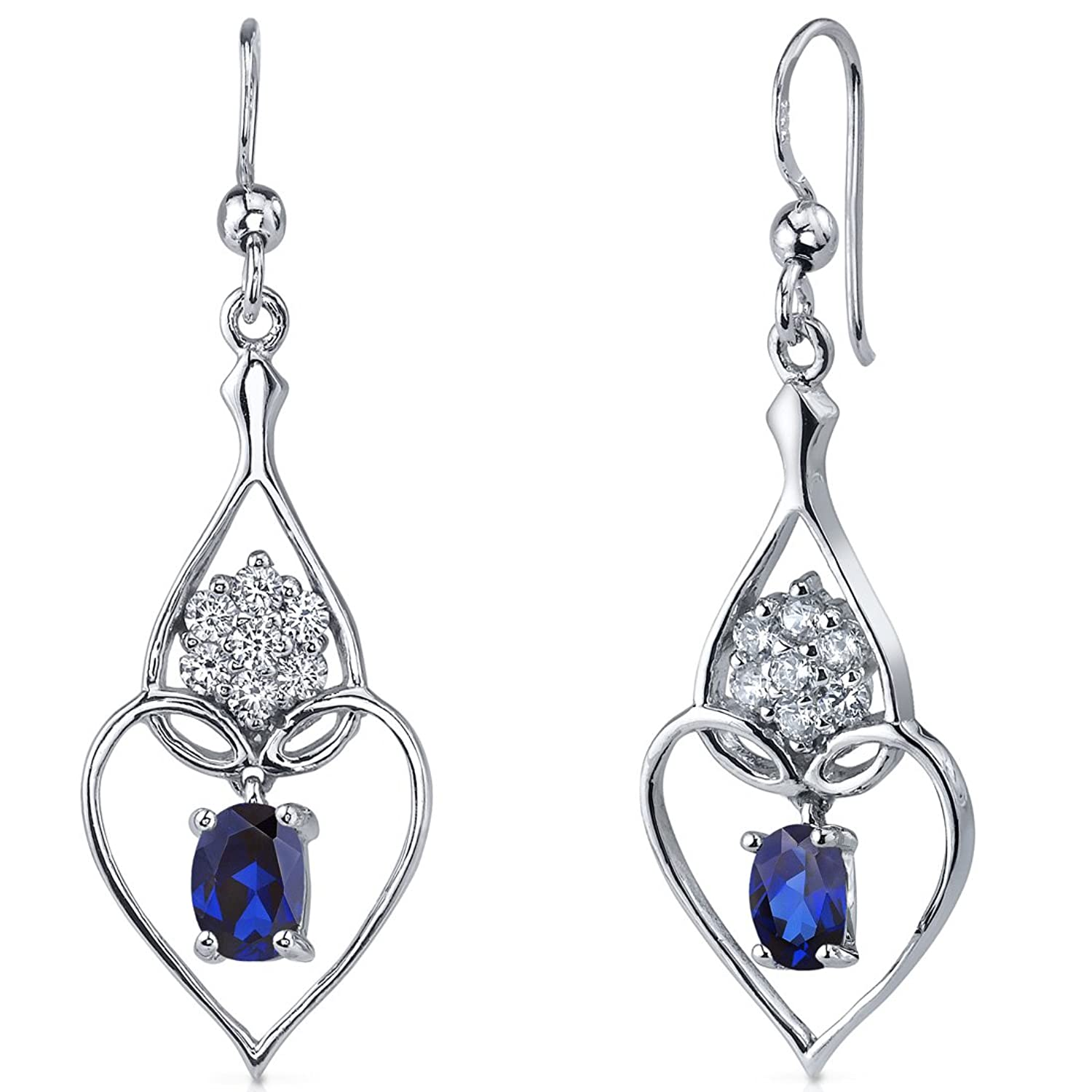 Created Sapphire Dangle Heart Earrings Sterling Silver Rhodium Nickel Finish 2.00 Carats Heart Design