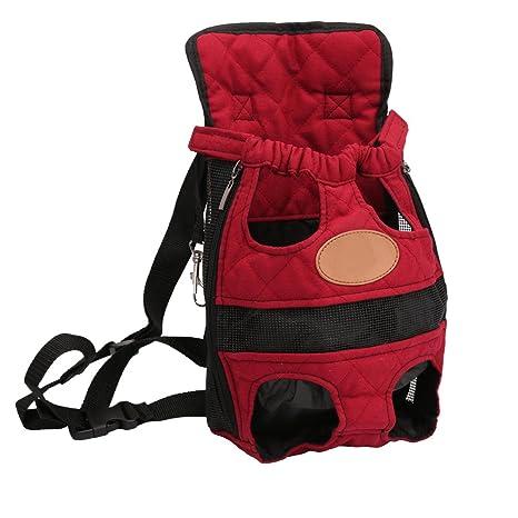 YOUJIA Mochila Bolsa para Perro Gato Mascota, Viaje Bolsa de Transporte - Color sólido Rojo, L (38*23cm)