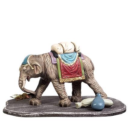 Elefante con equipaje – 1 figura con saco y botella Plus de madera decoración isla,