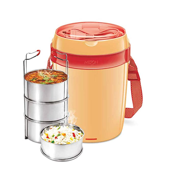 Milton Futron Stainless Steel Electric Lunch Box, 4 Containers, Orange Lunch Boxes