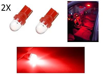 2 Luces de posición, bombilla LED roja, T10 bombilla de coche 6000K 12V W5W