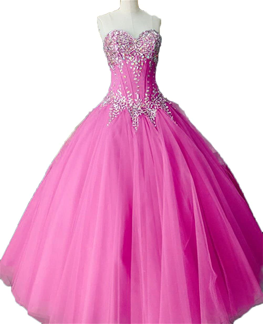 Fuchsia Zhu Li Ya Women's Ball Gown Crystal Tulle Quinceanera Dresses Prom Gown