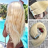 Moresoo 20 Inch Glue Hair Extensions Remy Tape on Hair Extensions Human hair 50 Grams 20 Pieces Bleach Blonde #613 Remy Hair Extensions Tape in Skin Weft Adhesive