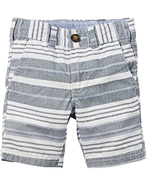 Boy Striped Flat-Front Shorts, Navy/White, 3m