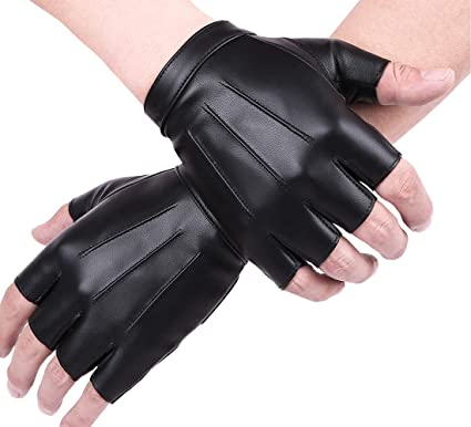 63a2319ed2b92 Mens Half Finger Gloves Fingerless Driving Gloves Black PU Leather Short Driving  Gloves Moto GloveFitness Gloves