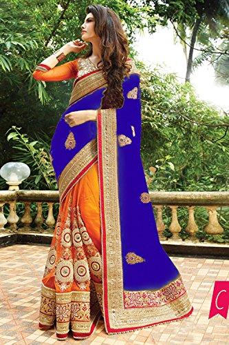 Da Facioun Indian Women Designer Party wear Blue Saree Sari NF-6060C