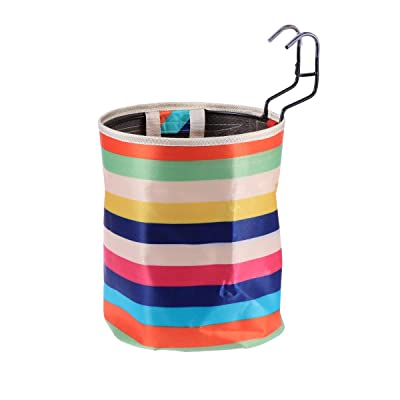 LIOOBO Waterproof Canvas Bicycle Basket Foldable Basket Rainbow Stripe Basket Front Storage Carrier Bag Handbag for Cycling Shopping : Sports & Outdoors