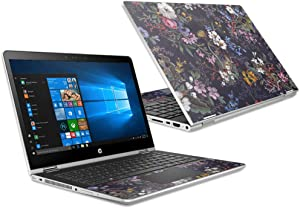 """MightySkins Skin Compatible with HP Pavilion x360 15.6"""" (2018) - Midnight Blossom   Protective, Durable, and Unique Vinyl Decal wrap Cover   Easy to Apply, Remove, and Change Styles   Made in The USA"""