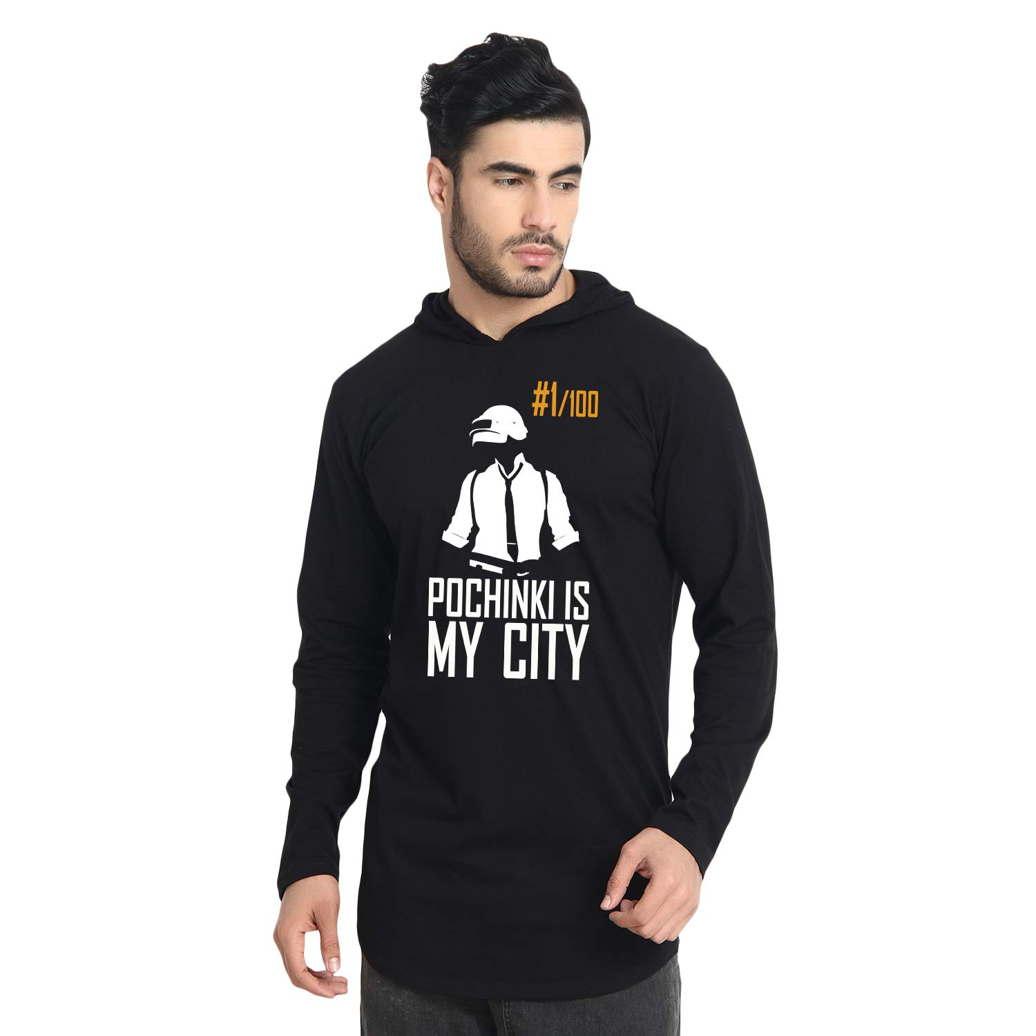 men's apple cut hooded black tshirt for pubg lovers, tshirt for pubg lovers,hoodie for pubg lovers,pubg lovers, pochinki lovers pubg tshirt,