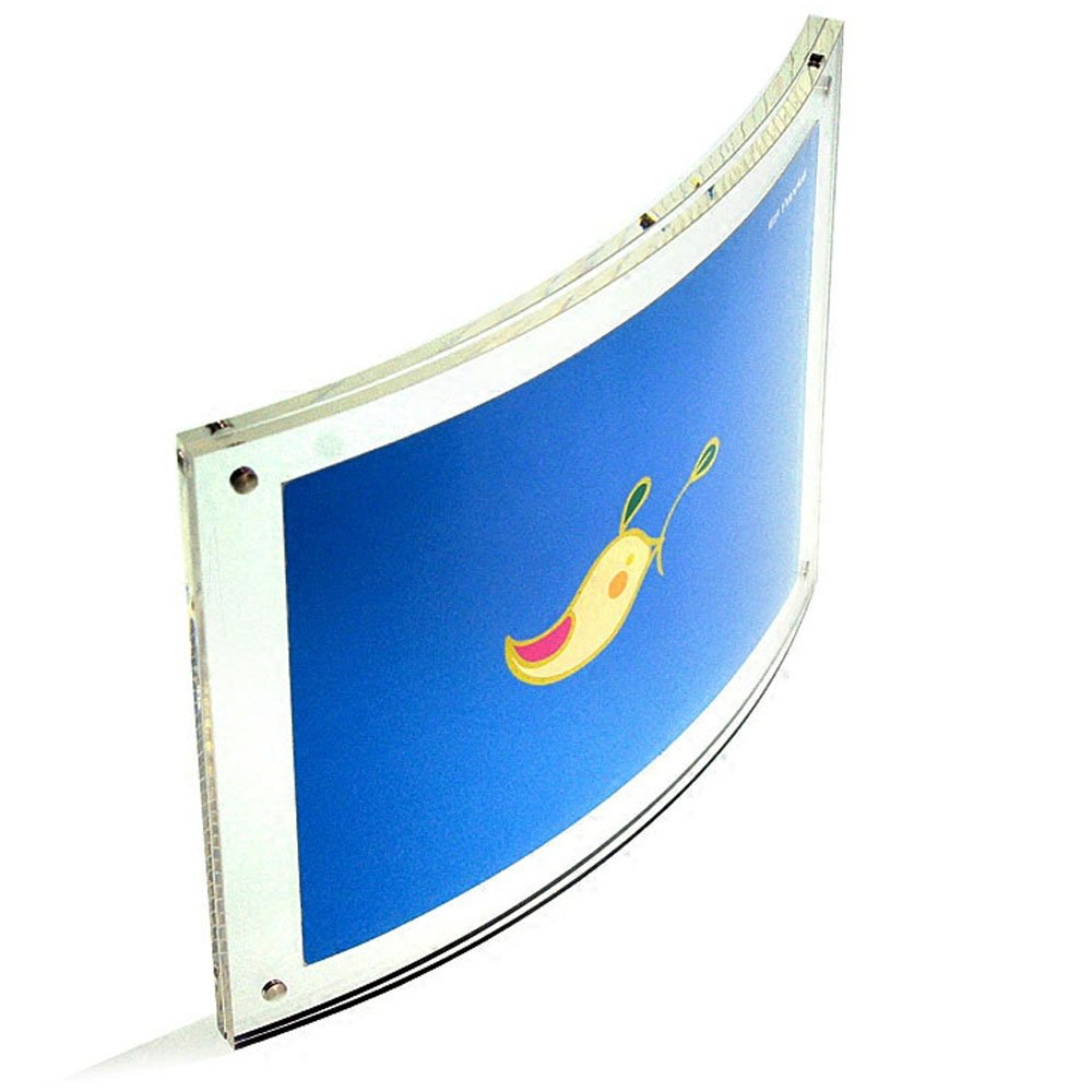 Free Standing Curved Acrylic Photo Frames with Magnetic (8.5x11'')