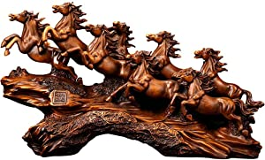 ZCQBCY Eight Horses Resin Statue Ornaments Lucky Feng Shui Office Desktop Horse Sculpture Moved to New Home New Store Opening Gift / 19.7x6x11.4inches