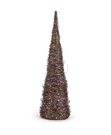 cc christmas decor 18 brown and silver glitter ice vine cone christmas tree table top