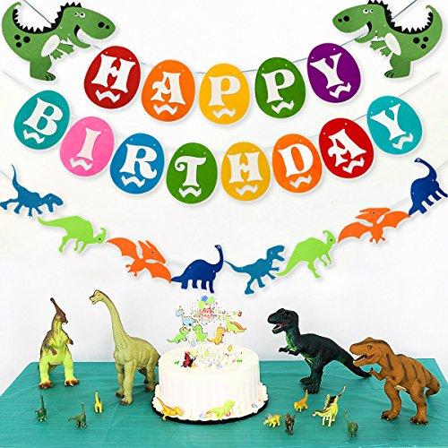 Dinosaur Happy Birthday Banner, Colorful Felt Garland Flag for Dino Jungle Jurassic First Birthday Dinosaur Party Supplies Decorations by Haptda (Image #4)