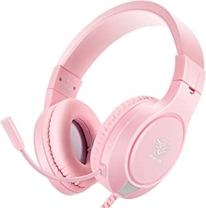 Pink Gaming Headset for Xbox One, PS4,PS5, Nintendo Switch, Bass Surround and Noise Cancelling with Flexible Mic, 3.5mm Wired Adjustable Over-Ear Headphones for Laptop PC iPad Smartphones