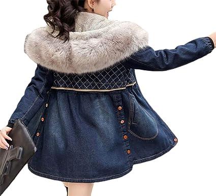 3bc749ea2a9d3 Amazon.com  Cromoncent Women s Winter Thick Fleece Faux Fur Hooded Denim  Jacket Parka Coat  Clothing